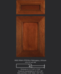 Mitered Cabinet Door M101 MW4-FP3/8 in Mahogany, African and 5-Piece drawer front with M6