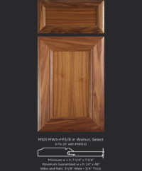 Mitered Cabinet Door M101 MW5-FP3/8 in Walnut, Select and 5-piece drawer front with MW5-D