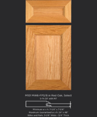 Mitered Cabinet Door M101 MW6-FP3/8 in Red Oak, Select and 5-piece drawer front with M7