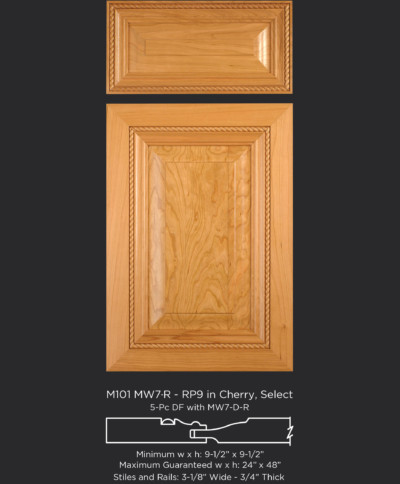 Mitered cabinet door with rope molding M101 MW7-R-RP9 in Cherry, Select and 5-piece drawer front with MW7-D-R