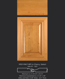 Mitered Cabinet Door M101 MW7-RP1 in Cherry, Select and Slab drawer front with OE5