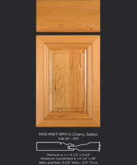 Mitered Cabinet Door M101 MW7-RP11 in Cherry, Select and Slab drawer front with OE5