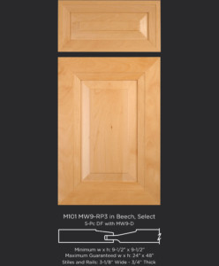 Mitered Cabinet Door M101 MW9-RP3 in Beech, Select and 5-piece drawer front with MW9-D