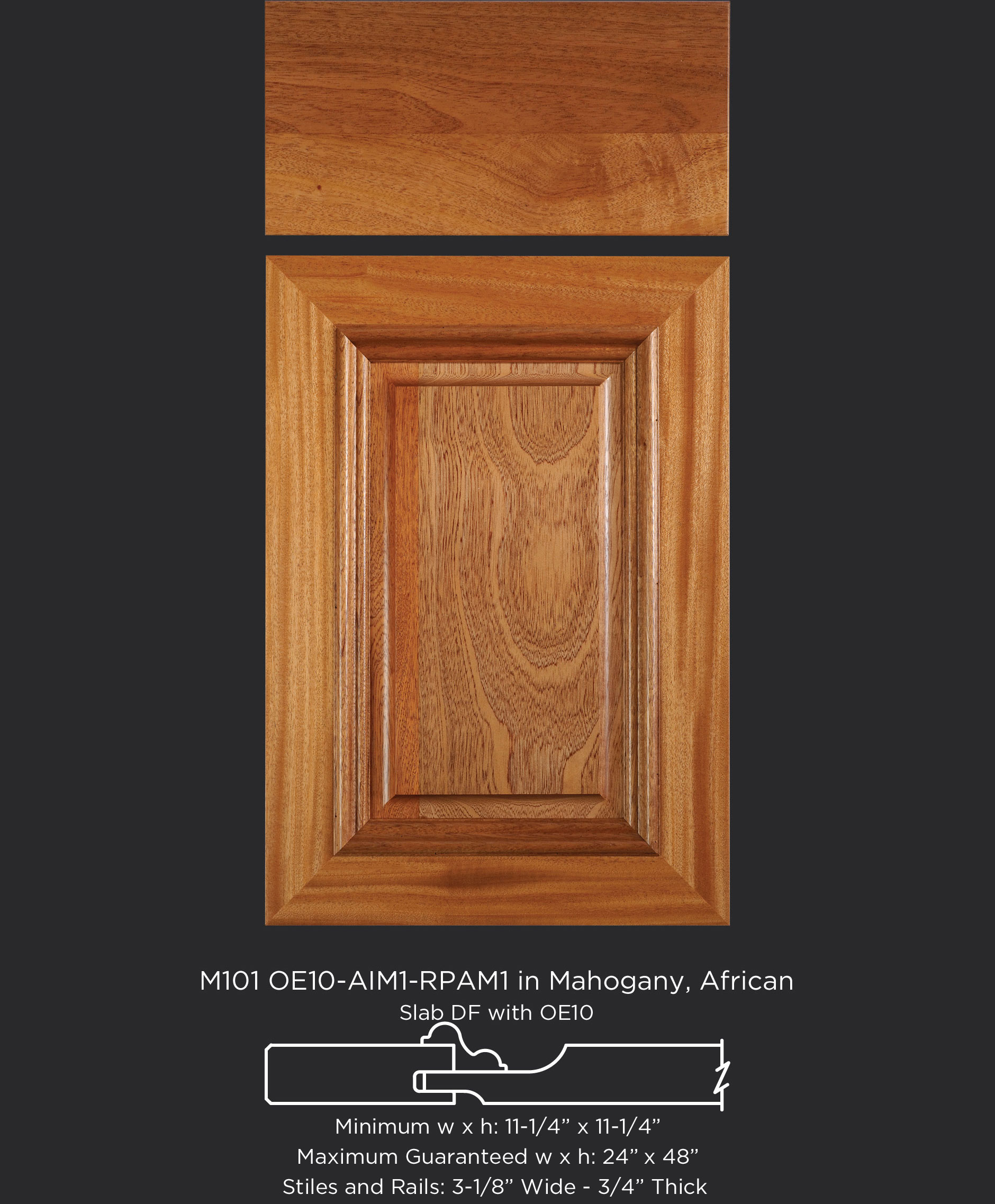 Mitered Cabinet Door M101 OE10-RPAM1-AIM1 in Mahogany, African - Slab drawer front with OE10