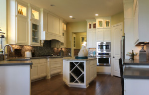 White kitchen with Combination Frame cabinet doors in Paint Grade Maple by TaylorCraft Cabinet Door Company, with MW8 stiles and rails and FP1/4″panel