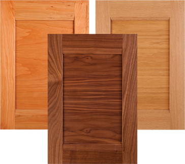 Horizontal grain combination frame cabinet doors