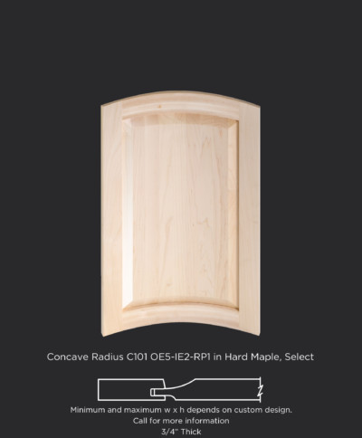 Concave radius cope and stick cabinet door with OE5-IE2-RP1 in Hard Maple, Select