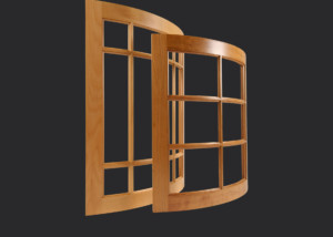 Convex radius mullion or divided lite cabinet doors