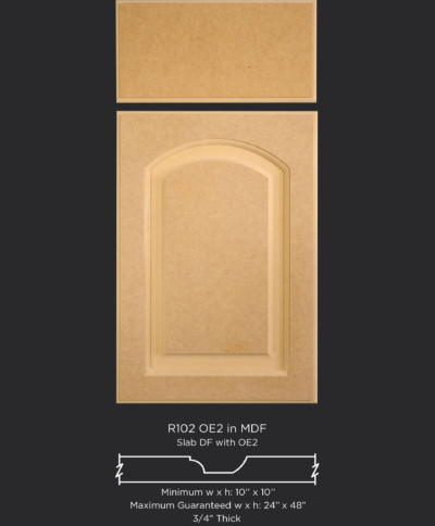 R102 routed MDF cabinet door with OE2
