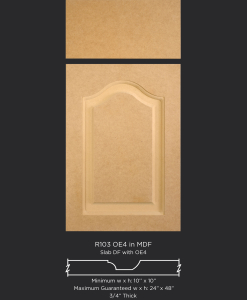 R103 routed MDF cabinet door with OE4