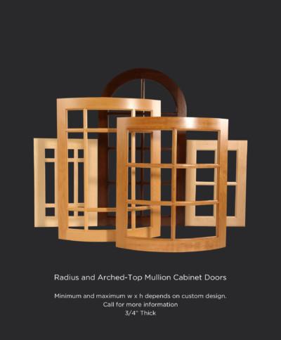 Convex and concave radius mullion cabinet doors