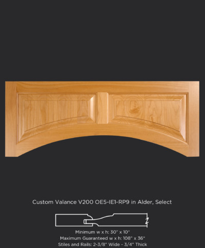 Custom wood valance V200 in Alder, Select with OE5-IE1