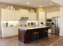 Kitchen painted white with cabinet doors by TaylorCraft Cabinet Door Company