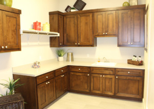 "mitered laundry room cabinet doors with MW6 Frame and 1/4"" flat panel"