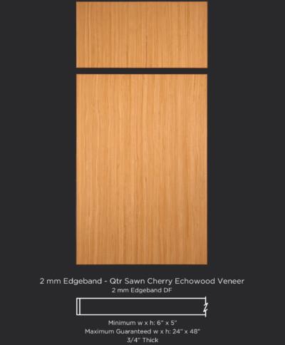 2mm Edgebanded door and drawer front in quartersawn cherry echowood veneer
