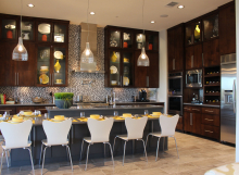 Contemporary kitchen with edgebanded veneer cabinet doors
