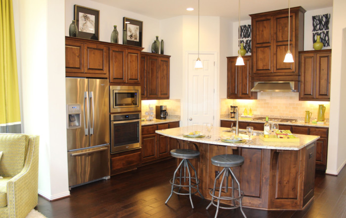 Kitchen with knotty alder cabinet doors