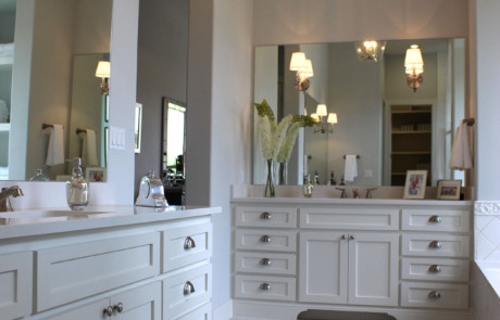 White master bath with shaker style cabinet doors