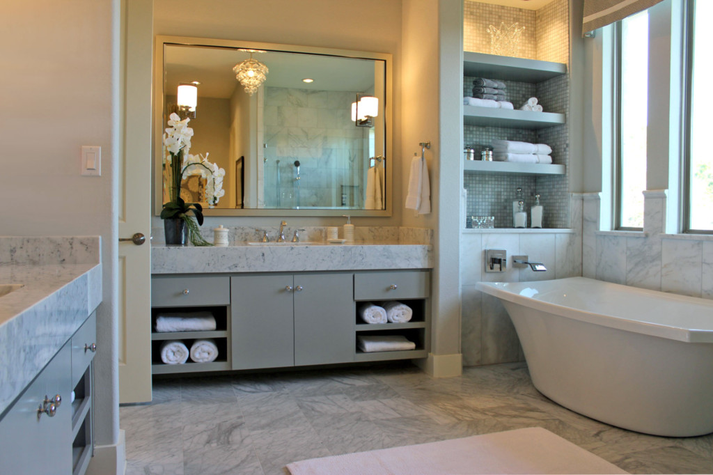 gray bathroom cabinets with marble countertop