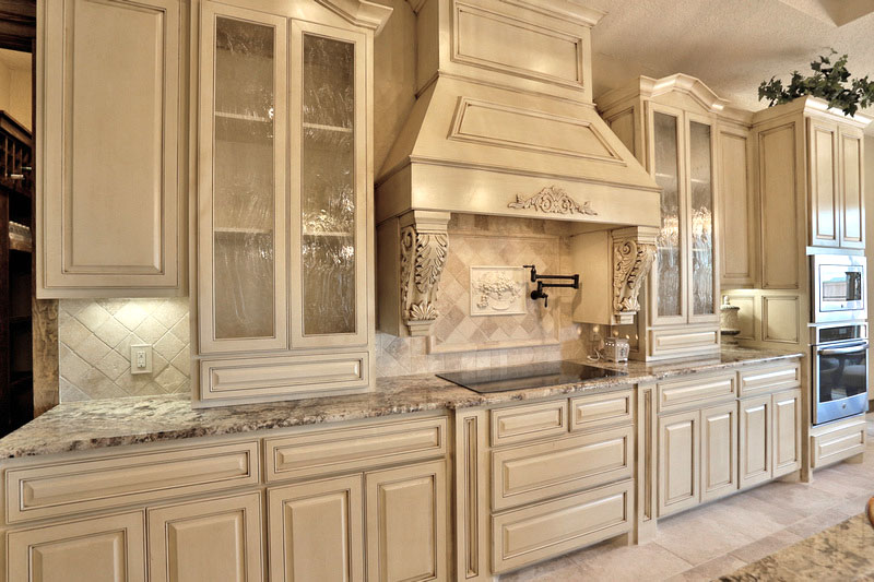 View Larger Image Kitchen With Wood Vent Hood And Gl Panel Cabinet Doors In Paint Grade Maple
