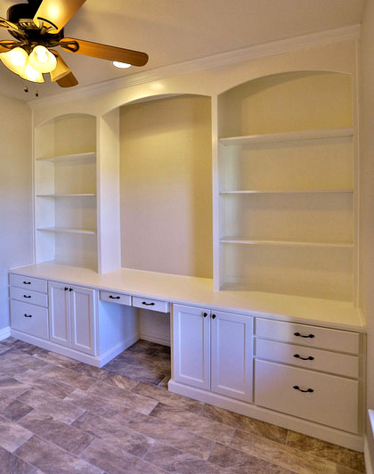 White Built-in Bookshelves with Desk - TaylorCraft Cabinet Door