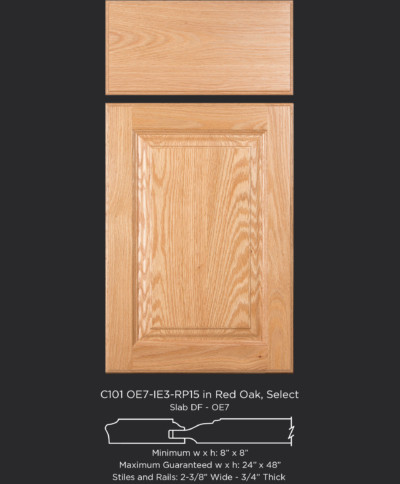 Cope and Stick Cabinet Door C101 OE7-IE3-RP15 Red Oak, Select and slab drawer front with OE7