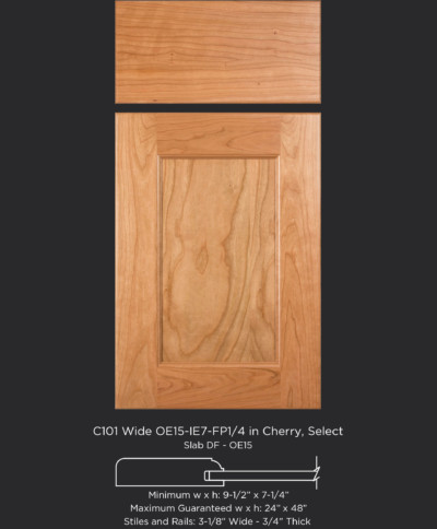 Cope and Stick Cabinet Door C101 Wide OE15-IE7-FP1/4 Cherry, Select