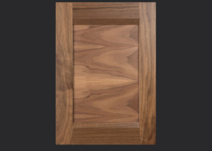 Combination Frame Cabinet Door CF101 MW8-FP1/4 with horizontal panel grain in Walnut, Select