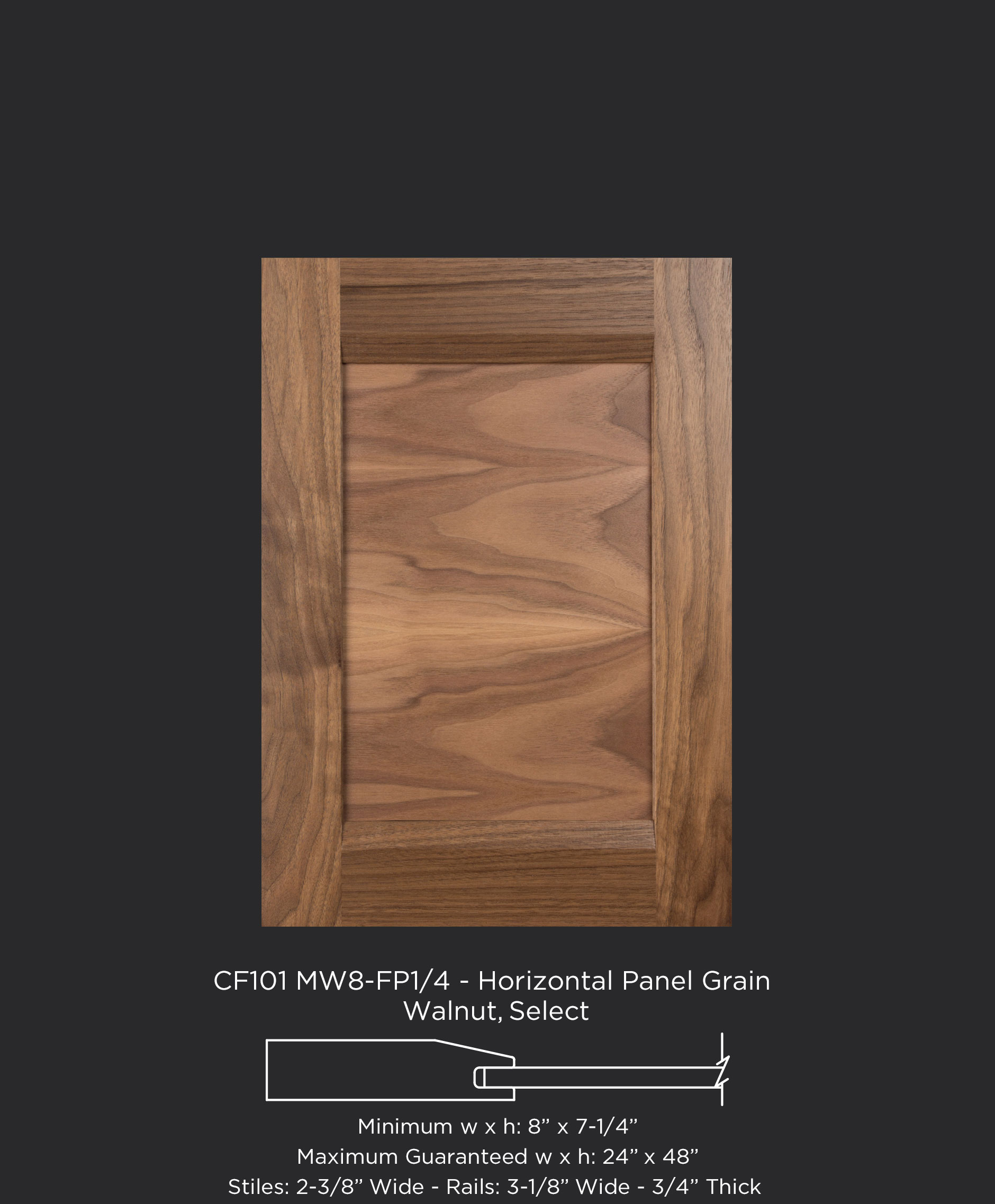 View Larger Image Combination Frame Cabinet Door CF101 MW8-FP1/4 with horizontal panel grain in Walnut & CF101 MW8-FP1/4 Walnut Select Horizontal Grain - TaylorCraft ...