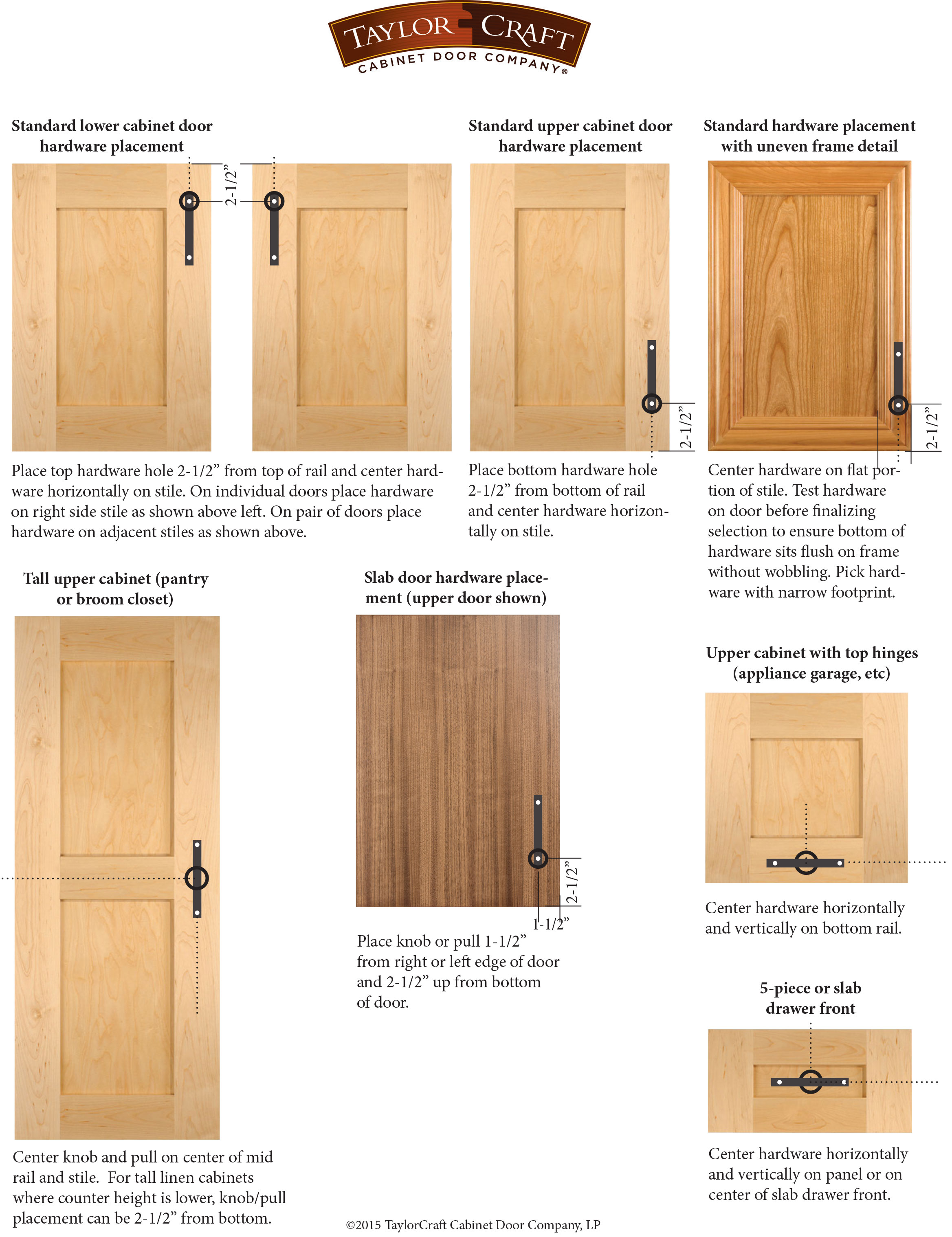 Cabinet Door Hardware Placement Guidelines Taylorcraft Company