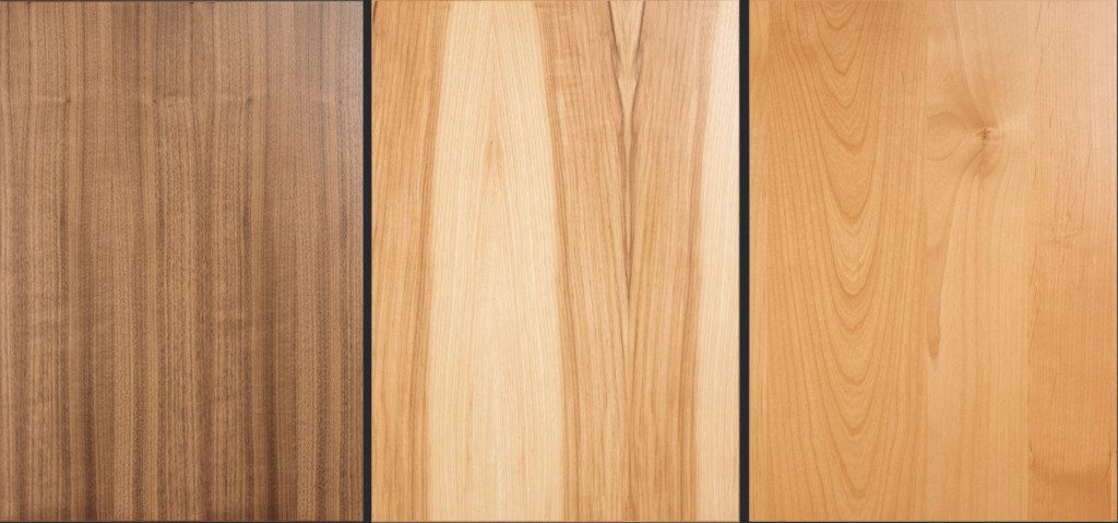 TaylorCraft Cabinet Door Company modern edgebanded veneer cabinet doors in Walnut, Hickory and Alder