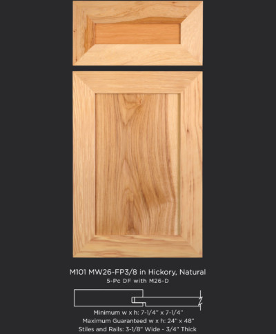 Mitered Cabinet Door M101 MW26 FP3/8 in Hickory, Natural and 5-piece drawer front with M26-D