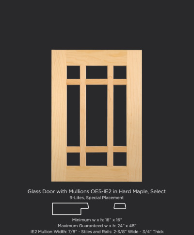 C101 Glass door with 9 lites, OE5, IE2 in Hard Maple Select