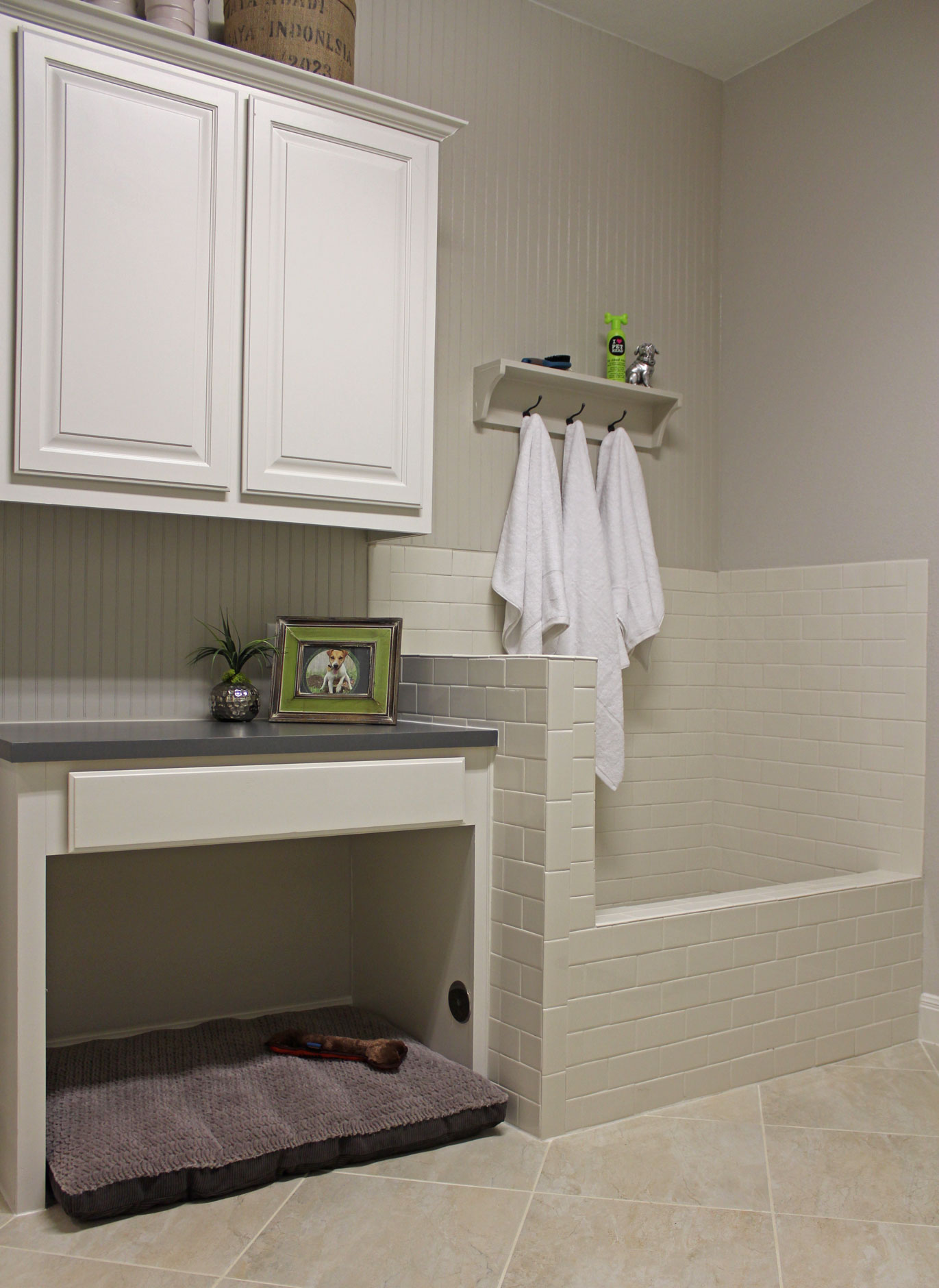 Laundry room with dog shower and space for dog bed