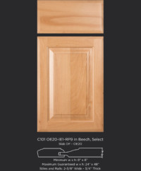 Cope and Stick Cabinet Door C101 OE20-IE1-RP9 Beech Select