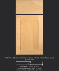Combination Frame Cabinet Door CF101 OE5-IE5 Rails-Chamfered Stiles-FP3/8 in Hard Maple, Select and slab drawer front with OE5