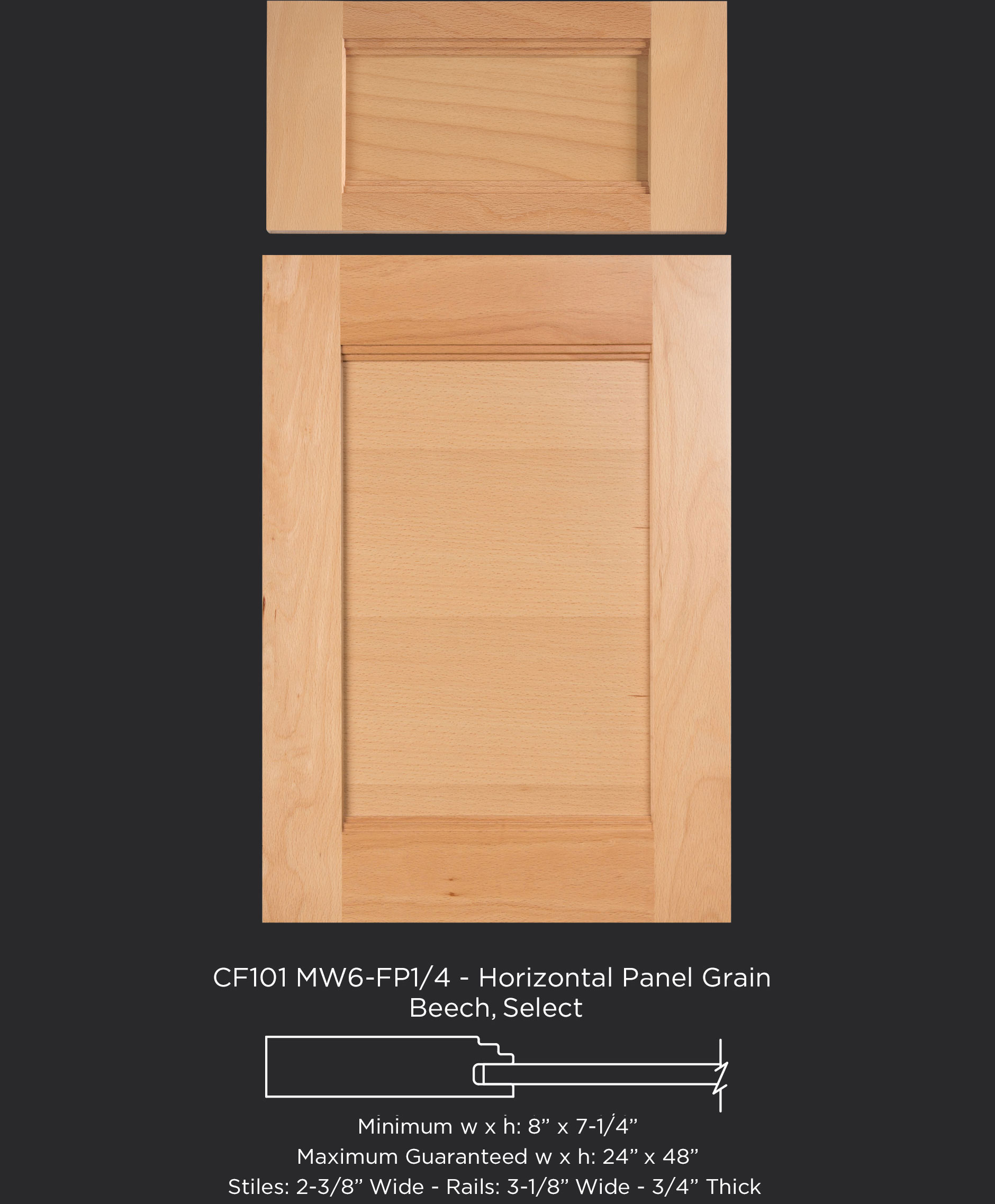 Combination Frame Cabinet Door CF101 MW6-FP1/4 with horizontal panel grain in Beech, Select with 5 piece drawer front