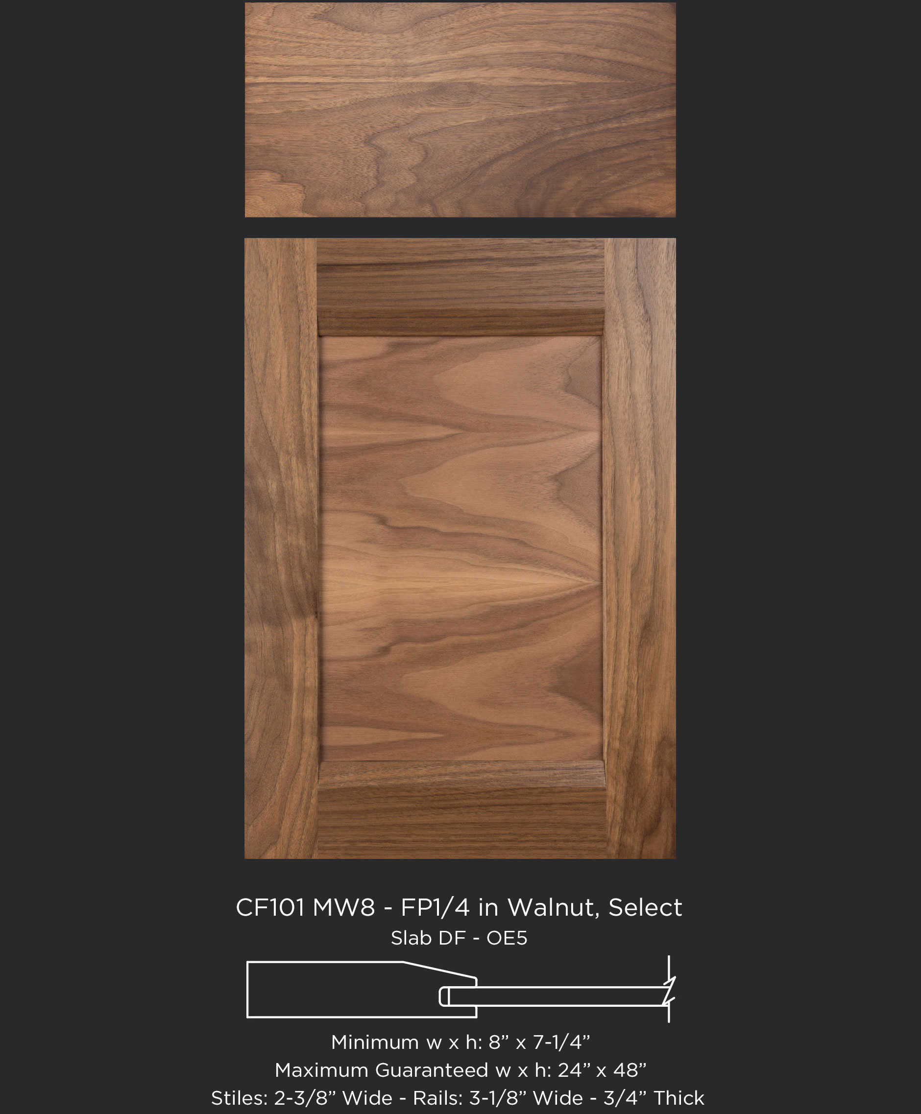 Combination Frame Cabinet Door CF101 MW8-FP1/4 with horizontal panel grain in Walnut, Select with slab drawer front