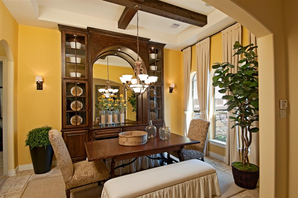 Built-in dining room hutch with arched center