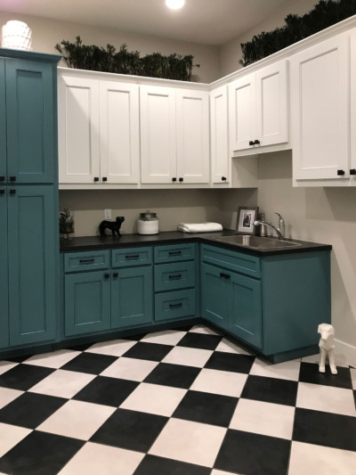 Laundry Room With Turquoise Blue And White Cabinets   MW15