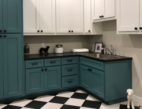 Turquoise Blue and White Laundry Room