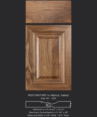 M101 mitered cabinet door with MW7 RP1 in Walnut Select with slab drawer front