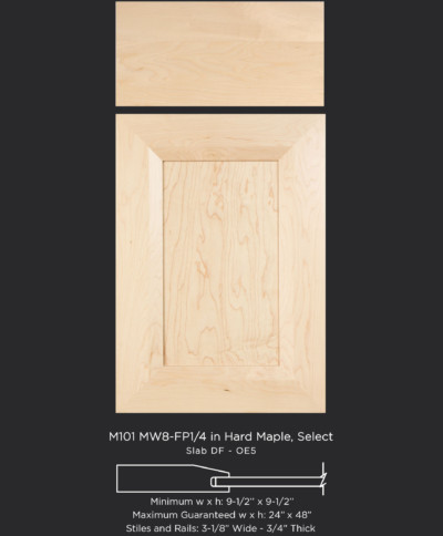 Mitered Cabinet Door M101 MW8-FP1/4 in Hard Maple, Select Slab Drawer Front