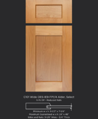 Cope and Stick Cabinet Door C101 Wide OE5-IE9-FP1/4 Alder Select