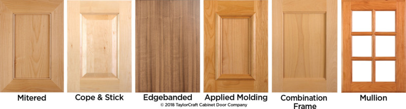 Cabinet door styles and cabinet door construction types and options