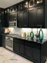black kitchen cabinets with combination frame cabinet doors by TaylorCraft