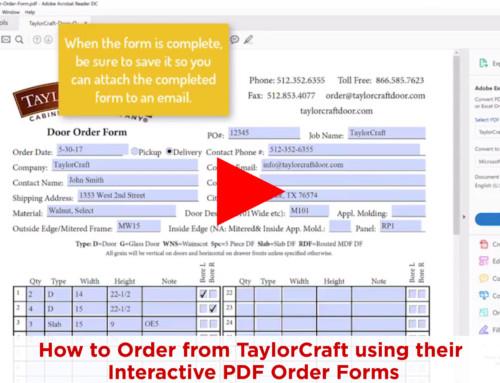 Order Doors using TaylorCraft's Interactive PDF – No Printing Needed