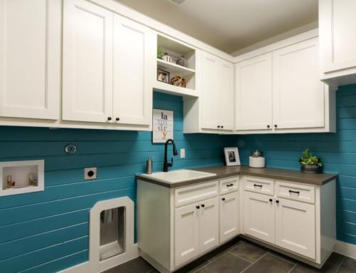 White Laundry Cabinets Turquoise Shiplap