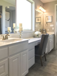 Master bath with TaylorCraft Cabinet Door Company's C101 with OE3, IE1, RP1 cope and stick doors in paint grade material, painted white