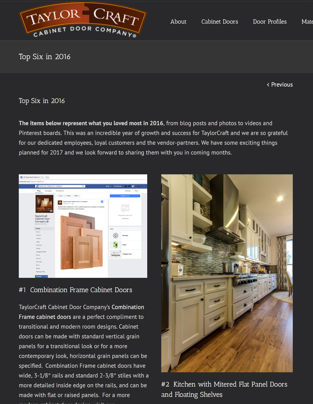 Top Six in 2016 - TaylorCraft Cabinet Door Company